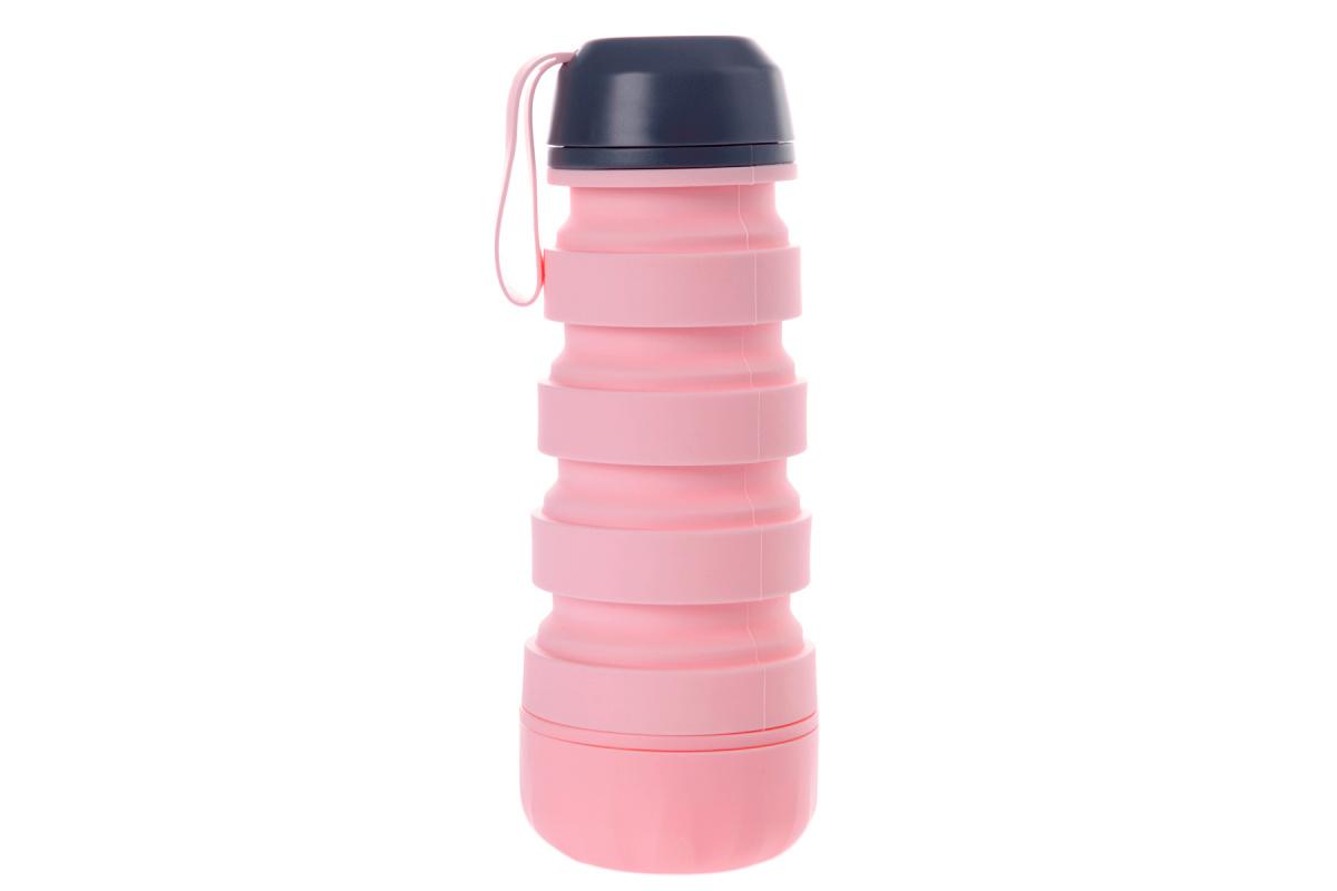 Силиконовая складная бутылка с отсеком для таблеток, розовая фото