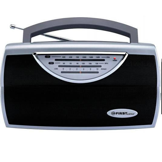 Радиоприемник FIRST, AM/FM, выходы AUX/наушники, питание AC/DC, серебристыйРадиоприемники<br>First FA-1904 - компактный и стильный радиоприемник с поддержкой диапазонов AM и FM. Приемник обладает удобной ручкой для переноски и телескопической антенной.<br>