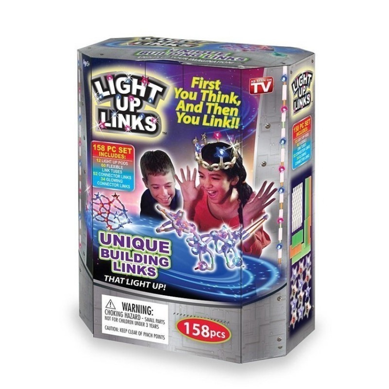 Детский светящийся конструктор Light up LinksКонструкторы<br>Ищете оригинальный подарок для своего ребенка, который подарит не только часы удовольствия, но и грамотное развитие фантазии, воображения и мелкой моторики рук? Посмотрите.детский светящийся конструктор Light up Links, который покорил сердца миллионов детей с разных уголков мира!<br>