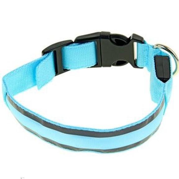 Светящийся ошейник со светоотражателем, 38-40 см, Голубой фото