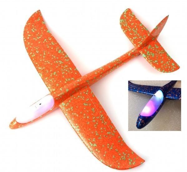 Купить Самолет метательный планер светящийся, жёлтый, 48 см, Подвижные игры