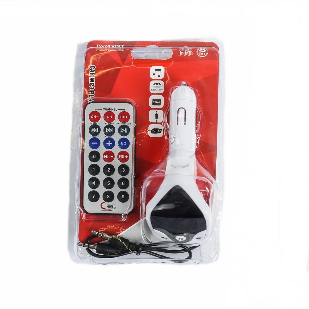 FM - трансмиттер, 12 В, USB/Mp3/WMA/AUX/MicroSD, провод AUX, белый