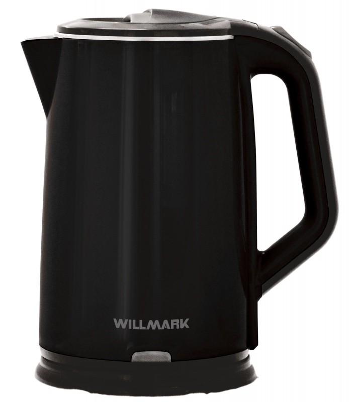 Чайник электрический WILLMARK WEK-2012PS (2.0л, двойные стенки, эффект термоса, пов. на 360 град., 2000Вт)Черный