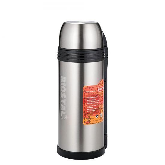 Термос BIOSTAL-СПОРТ 1,8 л. NGP-1800-PТермосы<br>Универсальный термос выполняет функции термоса для еды (первого или второго) и термоса для напитков (кофе, чая). Это достигается благодаря специальной универсальной пробке, которая изготовлена из прочного пластика, легко разбирается для мытья и, обладая дополнительной теплоизоляцией, позволяет термосу дольше хранить тепло.<br>