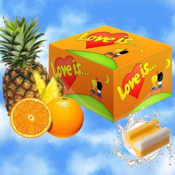 Жвачка Love is - апельсин-ананас (блок 100 шт) от MELEON