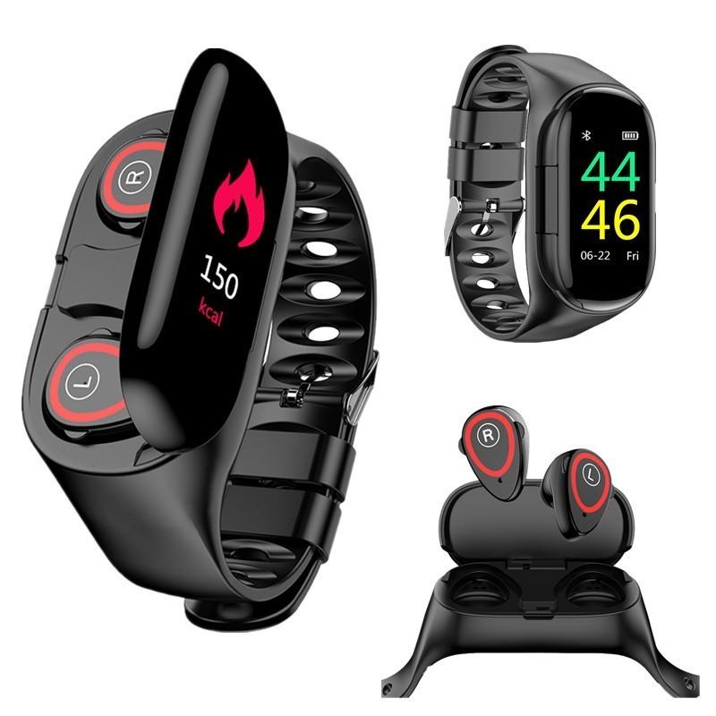 Смарт-часы 2 в 1 - Фитнес-браслет + наушники, чёрный