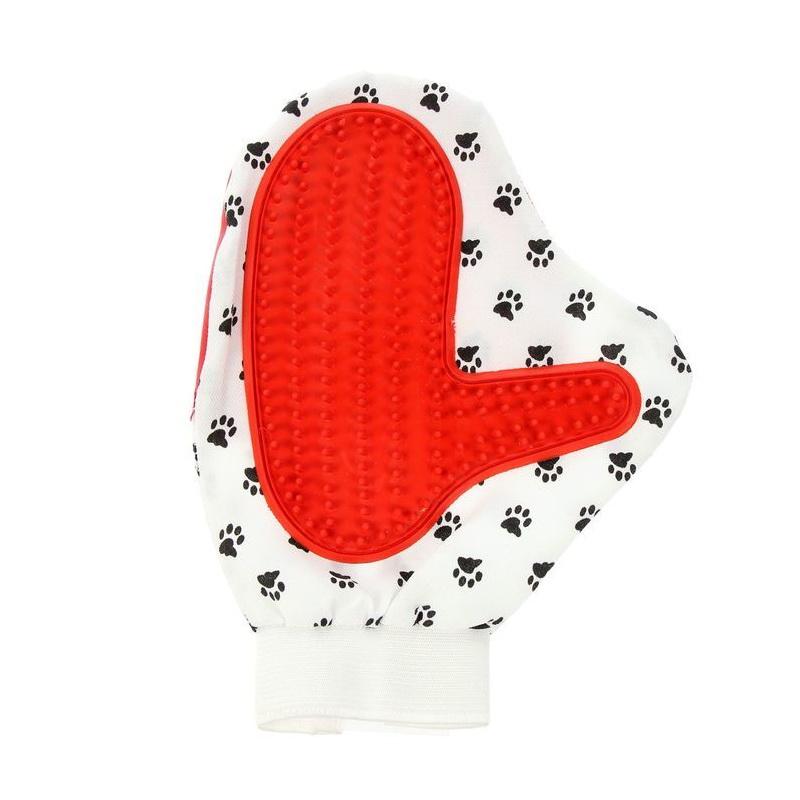 Двусторонняя рукавица для вычёсывания шерсти животных Pet Toy, красный