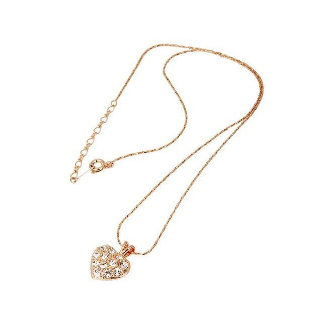 Кулон «сердце с кристаллами»