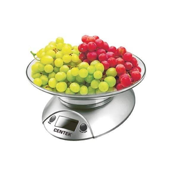Весы кухонные электронные Centek CT-2451, чаша пластик, 5кг, шаг 1г,  тарирование (серебро/черный(24)