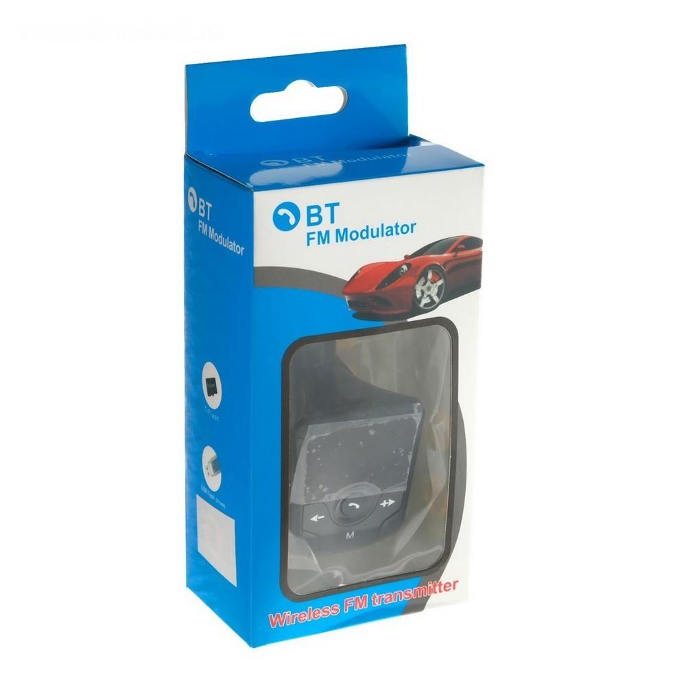 FM - трансмиттер, 12 В, USB/Mp3/WMA/AUX/MicroSD/Bluetooth, черный