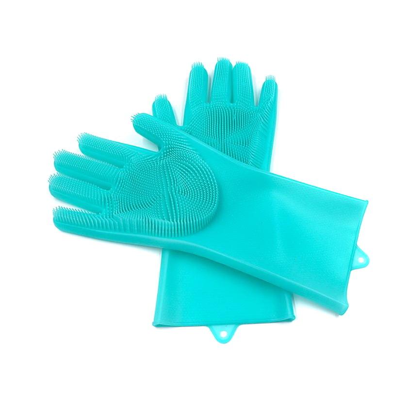 Силиконовые перчатки для мытья посуды Livingenie, бирюзовый фото