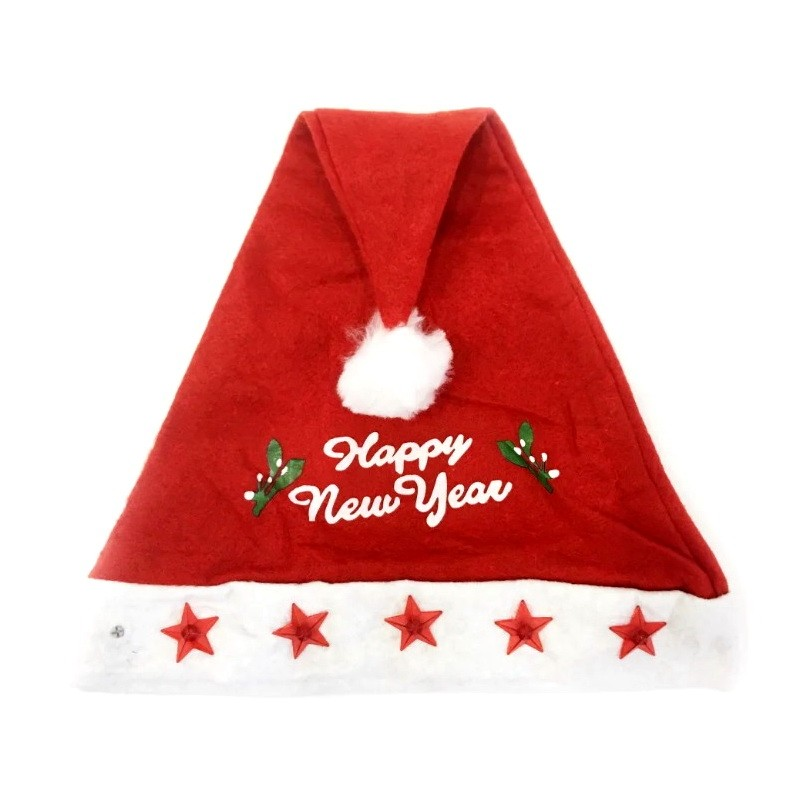 Красный новогодний колпак со звездами Happy New Year фото