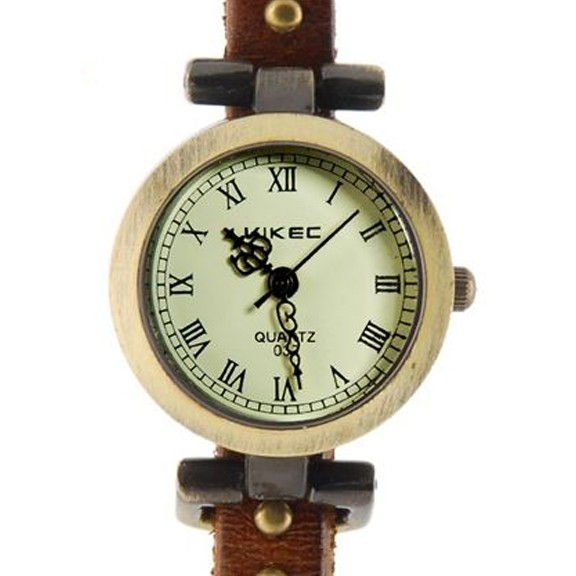 Часы браслет эко-кожа — 3 петли — Rivet, Коричневый