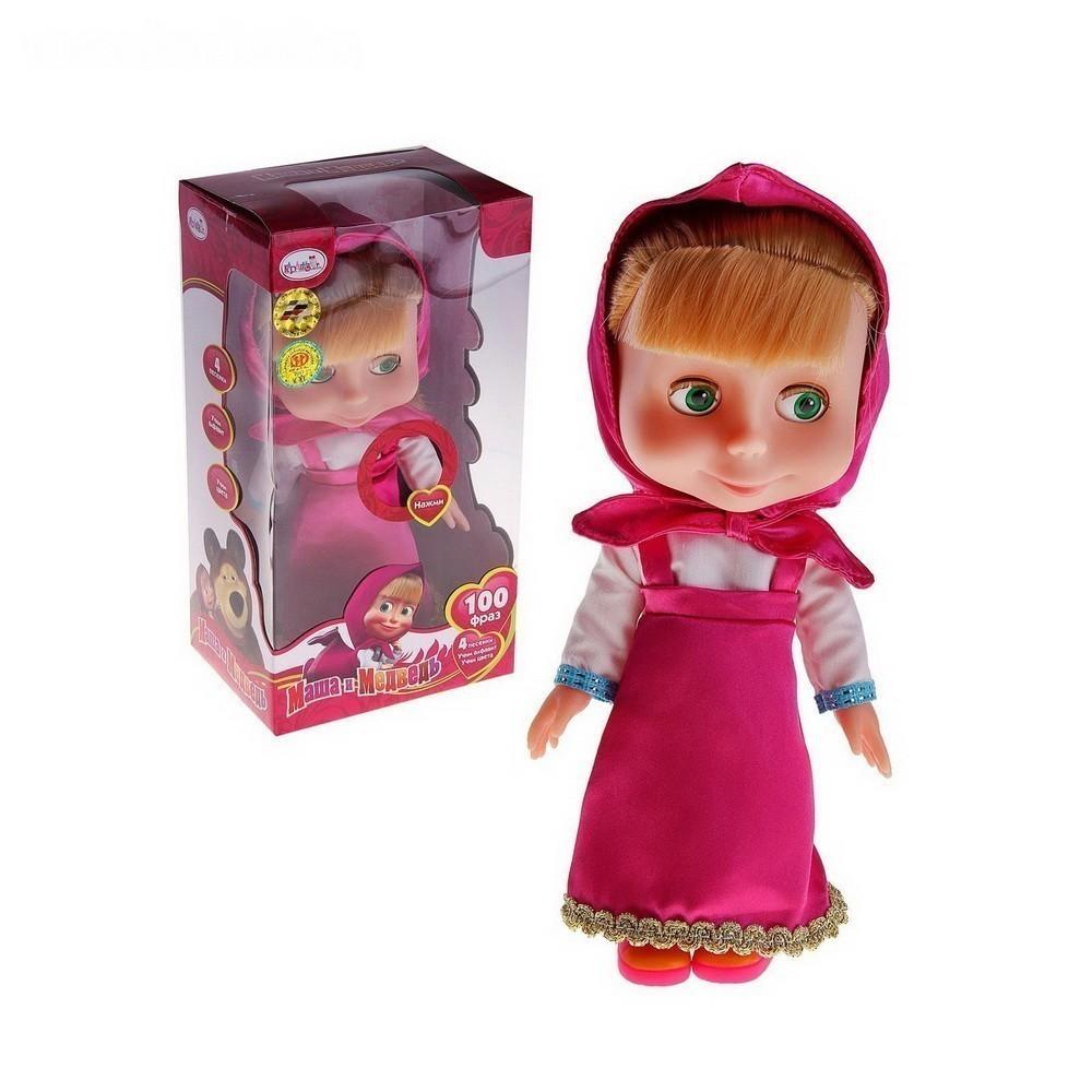 Кукла - Маша говорит 100 фраз, поёт 4 песниИгрушки для девочек<br>Ваша дочурка обожает мультсериал про Машу и медведя? Тогда обязательно порадуйте свою маленькую принцессу полезной и веселой куклой. Интерактивная кукла будет общаться со своей новой хозяйкой и поможет ей выучить алфавит, цифры, цвета радуги и геометрические фигуры.<br>