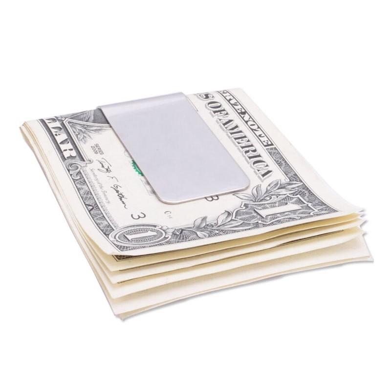 Зажим для денег из нерж. сталиЗажимы для купюр<br>Заглядываете в кошелек, а там снова расположены помятые и случайно порванные купюры? Избежать таких неприятных ситуаций и обеспечить деньгам максимум безопасности поможет компактный зажим для денег из нержавеющей стали!<br>