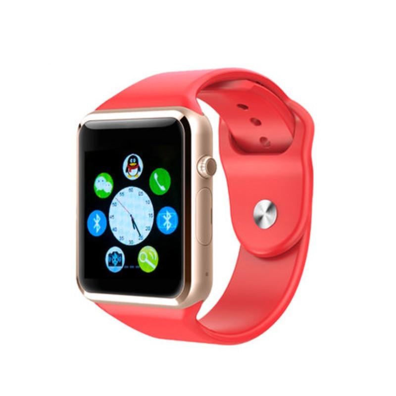 Умные часы Smart Watch A1 — серебро, красный ремешок