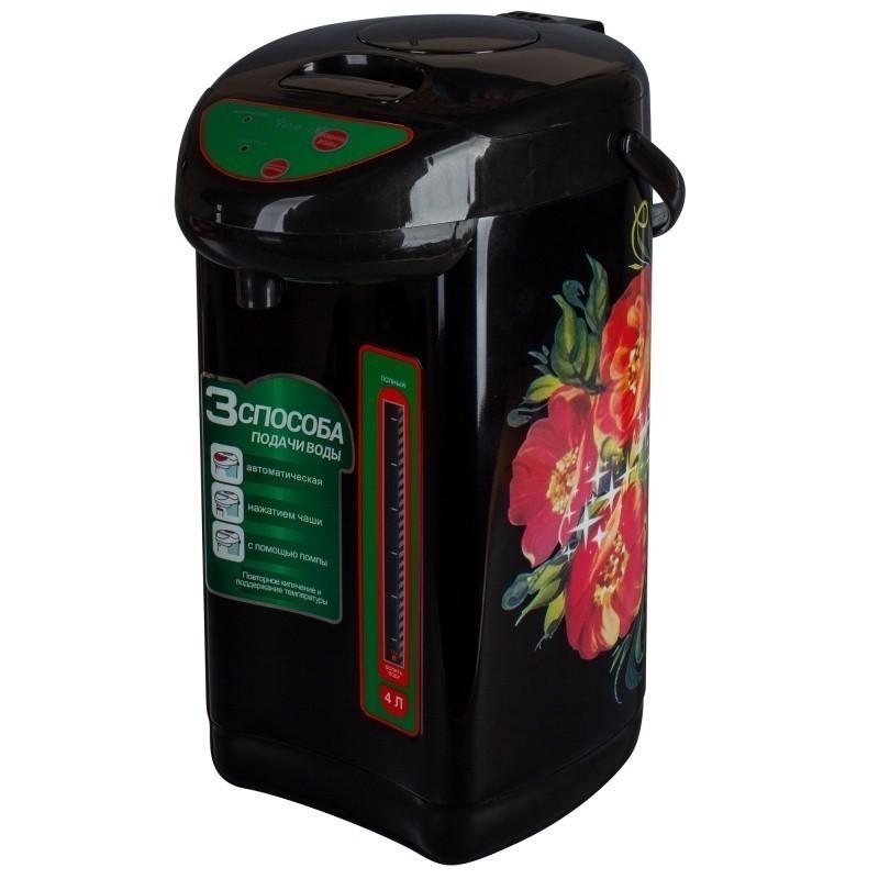 Чайник-термос Великие Реки Чая-8 Хохлома, мощность 800 Вт, объем 4 л, полезный объем 3,7 л