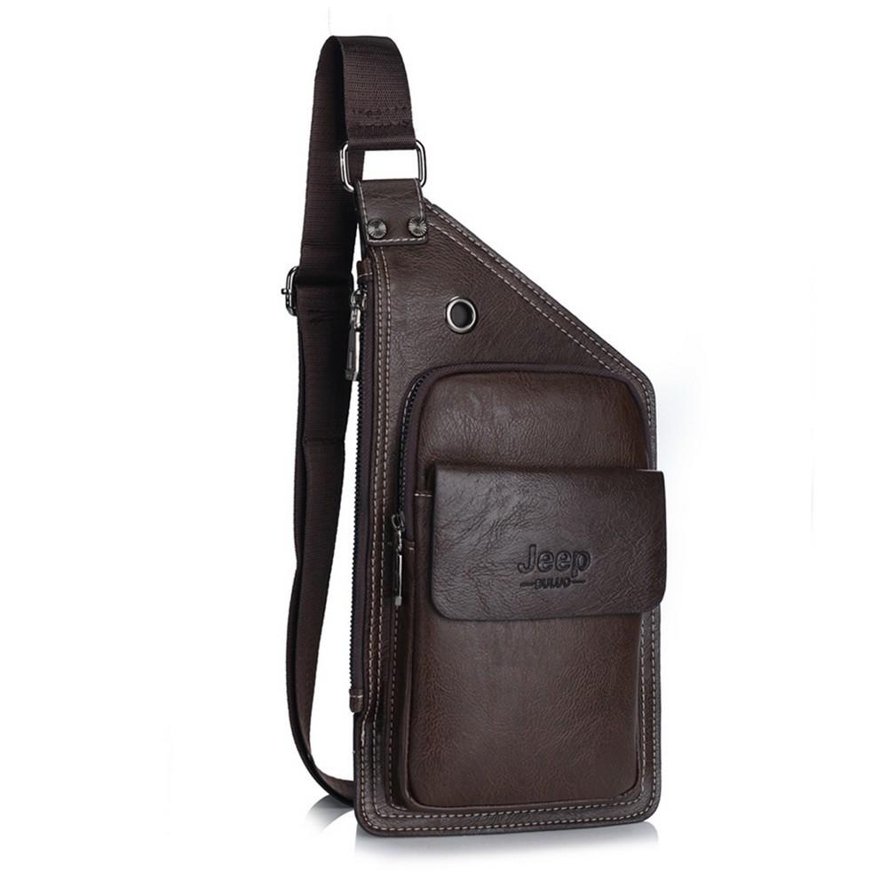 Кожаная сумка Jeep buluo, Темно-коричневый