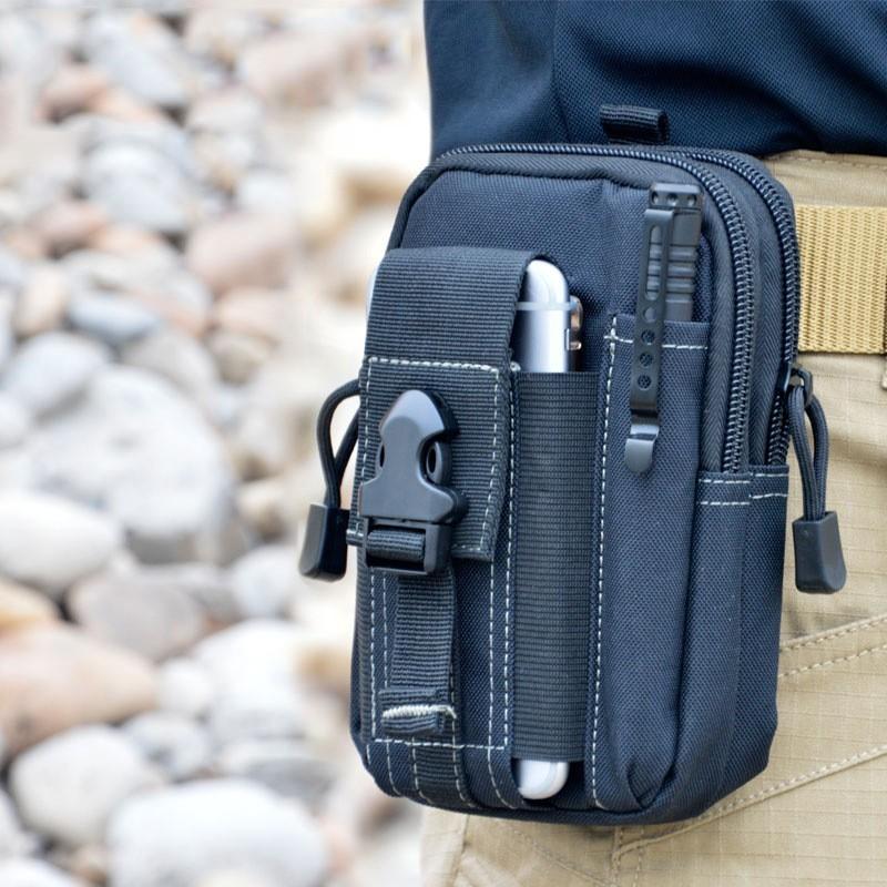 Купить со скидкой Удобная поясная сумка на ремень - черная