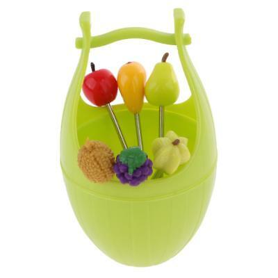 Набор шпажек для канапе в виде фруктов на подставке Wooden Casks Fruits Fork, зелёный
