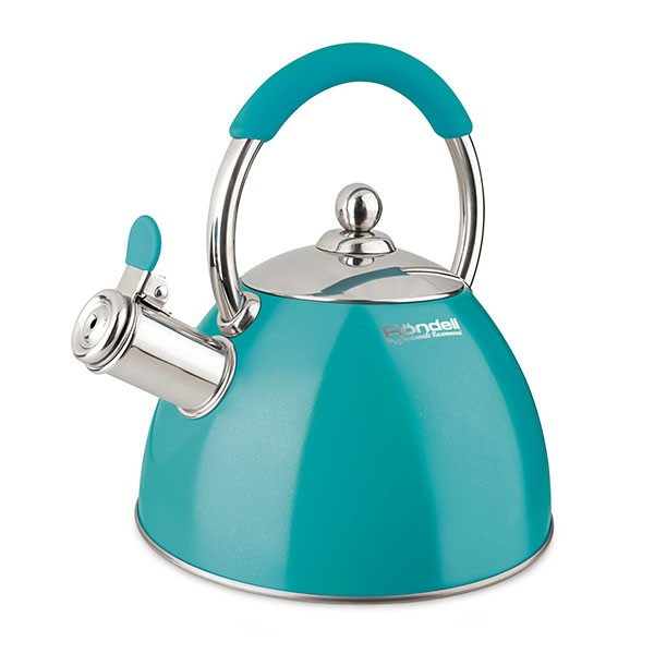 Чайник 2,0 л Turquoise Rondell 939-RDSЧайники металлические<br>Чайник Turquoise  выполнен из высококачественной  нержавеющей стали 18/10. Данная модель снабжена фиксированной стальной ручкой с силиконовой накладкой бирюзового цвета, которая  гармонично перекликается с  цветом корпуса и накладкой на клапане свистка.  Поднятие свистка осуществляется нажатием клапана, который  находится на носике чайника. Поставьте чайник на плиту и займитесь неотложными делами, когда вода закипит, он напомнит о себе громким свистом!<br>