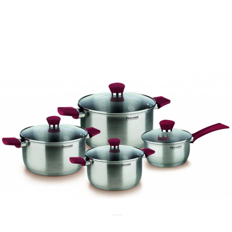 Набор 8 предметов (кастрюли 18, 20, 24 см, ковш 16 см) Strike Rondell (ST) RDS-818Кастрюли<br>Универсальный набор посуды RDS–818 Rondell Strike, состоящий из вместительного ковша и трех кастрюль разной емкости, имеет запоминающийся дизайн и ряд полезных характеристик.<br>