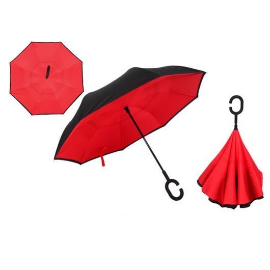 Зонт наоборот (обратный зонт) Up-brella, полуавтомат, красный