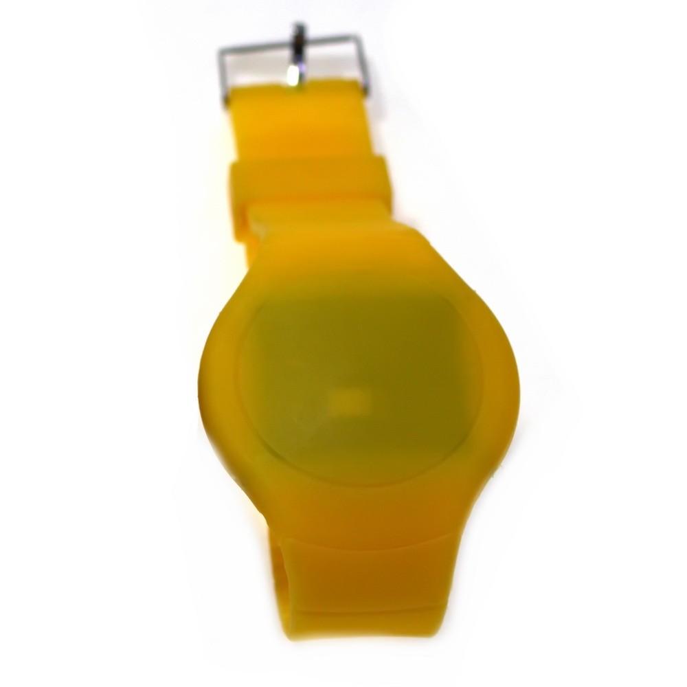 Ультратонкие силиконовые LED часы Nexer круглые, желтыеСпортивные LED часы<br>Развитие и переосмысливание светодиодной технологии, привело к тому, что лед часы наручные, настенные и настольные являются привычным атрибутом повседневной жизни большинства людей<br>
