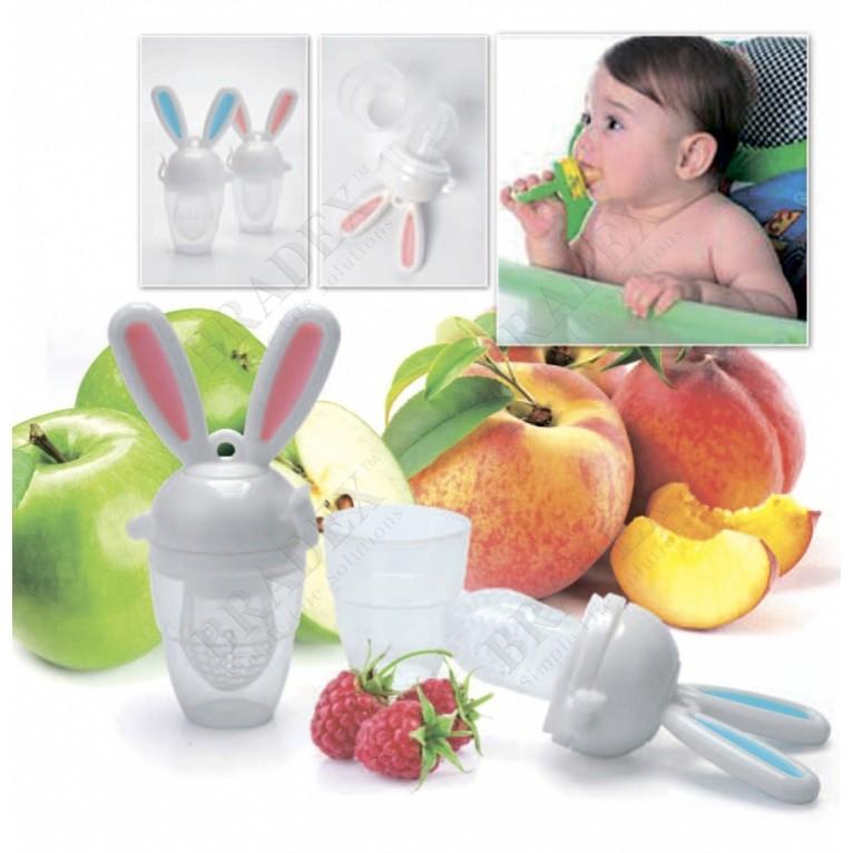 Купить Ниблер силиконовый - Зайчик, Розовый, Товары для новорожденных