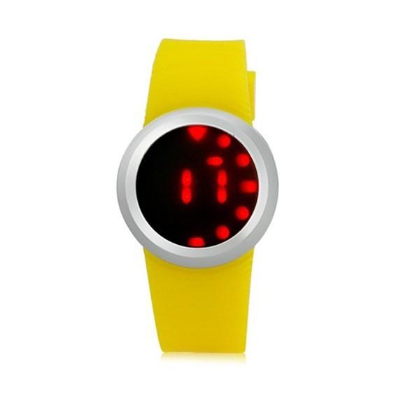 Ультратонкие силиконовые LED часы Nexer G1218 желтыеСпортивные LED часы<br>Сенсорные часы в минималистском дизайне. Часы имеют стильный вид, и с той же эффектностью показывают время. Корпус часов: выполнен из нержавеющего сплава, защищен от брызг<br>