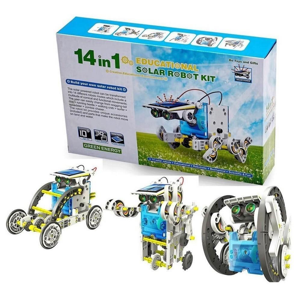 Робот-конструктор на солнечной батарее 14 в 1Конструкторы на солнечных батареях<br>Если ваш сын увлекается конструированием, то вы просто обязаны познакомить его с уникальным роботом-конструктором на солнечной батарее 14 в 1. Это – не простая игрушка, состоящая из множества деталей, которые необходимо собрать в одну большую конструкцию. Всего существует 14 моделей, которые легко приводятся в движение с помощью двигателей, питающимися от солнечных панелей.