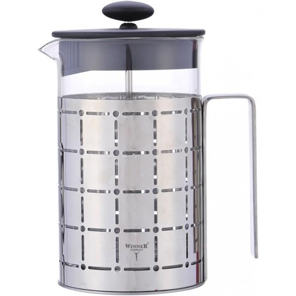 Чайник заварочный 800мл Winner WR-5213Чайники заварочные и френч-прессы<br>Чайник заварочный 800мл Winner WR-5213 – уникальный в своем роде аксессуар с нестандартным дизайном. Серо-стальной цвет прекрасно впишется в интерьер любой кухни, а квадраты на поверхности внесут некую изюминку в конструкцию.<br>