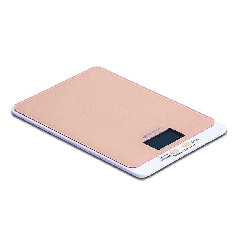 Кухонные весы Kitfort 803-КТ , бежевыеКухонные весы<br>Электронные кухонные весы КТ-803 позволяют определять вес до 5 кг с точностью до 1 грамма.<br>