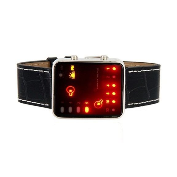 Черные бинарные LED часы Nexer 375BСпортивные LED часы<br>Нереально крутые часы по последним тенденциям в мире IT-технологий! Бинарная система даты и времени не оставит равнодушным модников и компьютерщиков. Черные бинарные LED часы Nexer задают свой собственный стиль и ритм – вливайся!<br>