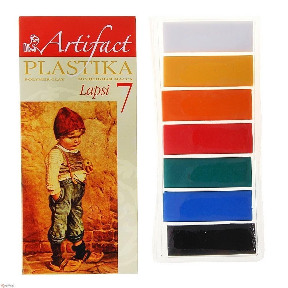 Пластика - полимерная глина набор LAPSI 7 классических цветов, 140г