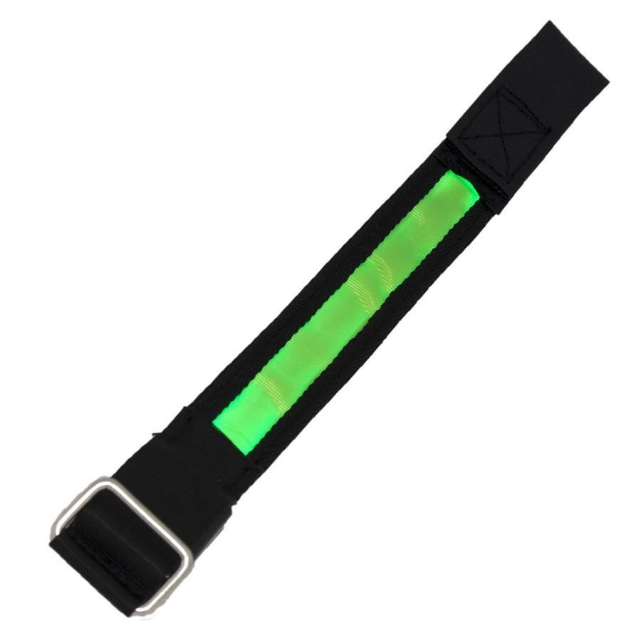 Купить со скидкой Сигнальный светодиодный браслет - зеленый/черный
