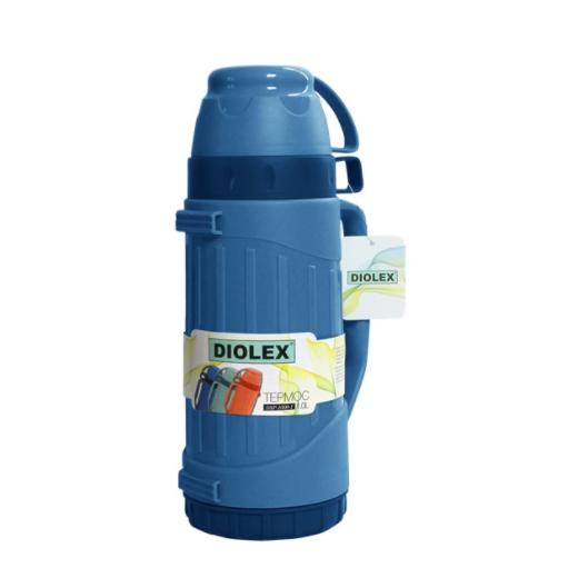 Термос Diolex пластиковый со стеклянной колбой 1800 мл, синийТермосы<br>Термос Diolex DXP-1800-1-Gпрекрасно подходит для хранения горячих или холодных напитков. Корпус модели выполнен из высококачественного пластика, а колба из стекла. Данный материал экологически чистый, безопасный и позволяет максимально сохранить полезные свойства и вкусовые качества воды.<br>