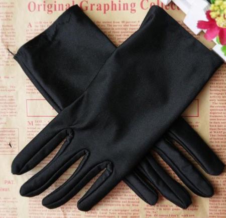 Перчатки атласные короткие, 42- 46 р., черные