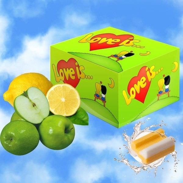 Жвачка Love is - яблоко-лимон (блок 100 шт) от MELEON
