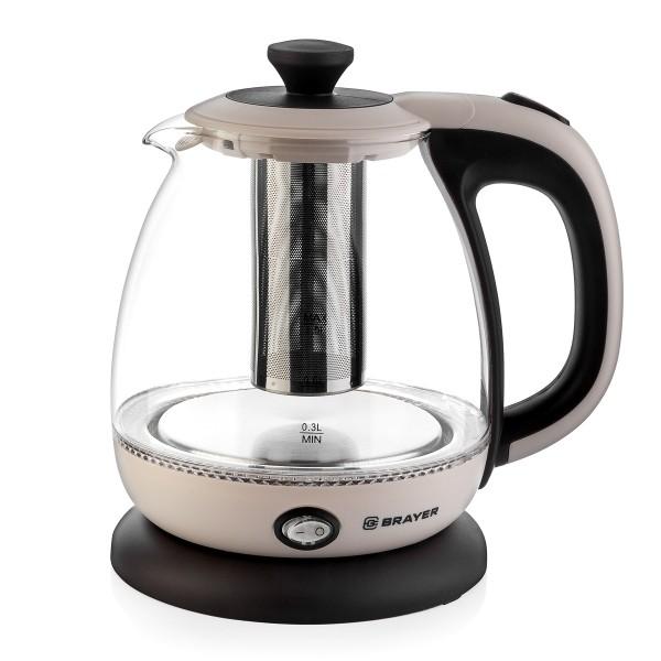 Чайник электрический Brayer BR1046, 1100 Вт, 1 л, стеклянный