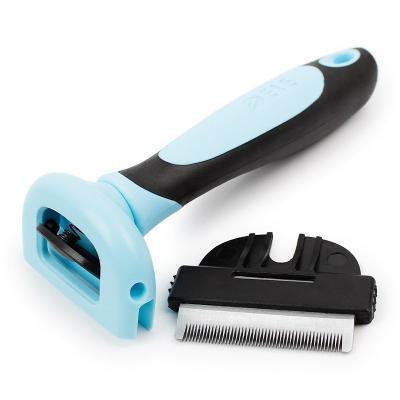 Фурминатор с прорезиненной ручкой и сменным ножом Dele, голубой