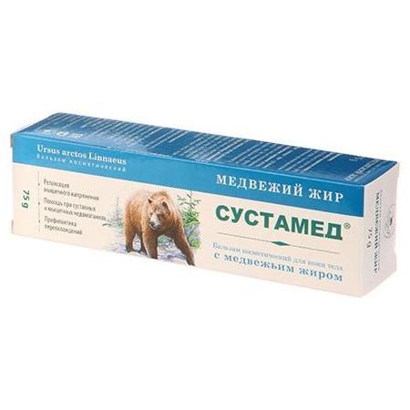 Сустамед - бальзам для кожи тела с медвежьим жиром, 75гКрема и бальзамы<br>Если вы слышали раньше о пользе медвежьего жира, но никогда не приобретали такое средство, то пора срочно исправлять эту оплошность! Бальзам Сустамед – это настоящая находка для лечения многих заболеваний. А главное – никаких побочных эффектов или противопоказаний!<br>