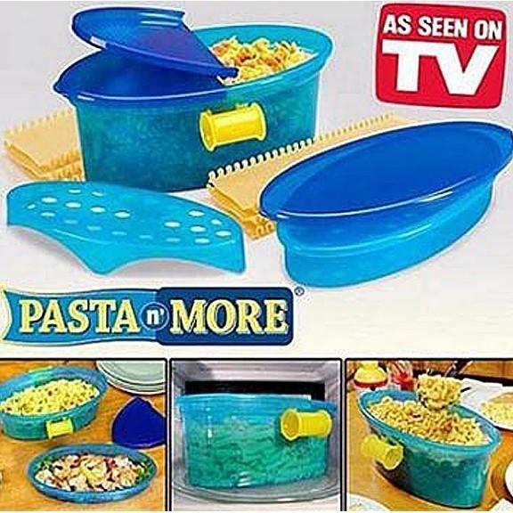 Контейнер для макарон в микроволновке Pasta N MoreДля микроволновки<br>Спагетти - это блюдо, которое любят и взрослые и дети. Но если у Вас постоянно это лакомство получается слипшимся и не таким вкусным, то контейнер для макарон в микроволновке Pasta N More станет настоящей палочкой-выручалочкой. Вы просто погружаете макароны в устройство и занимаетесь своими делами. Благодаря этому гаджету, Вы научитесь готовить самые разнообразные блюда!<br>