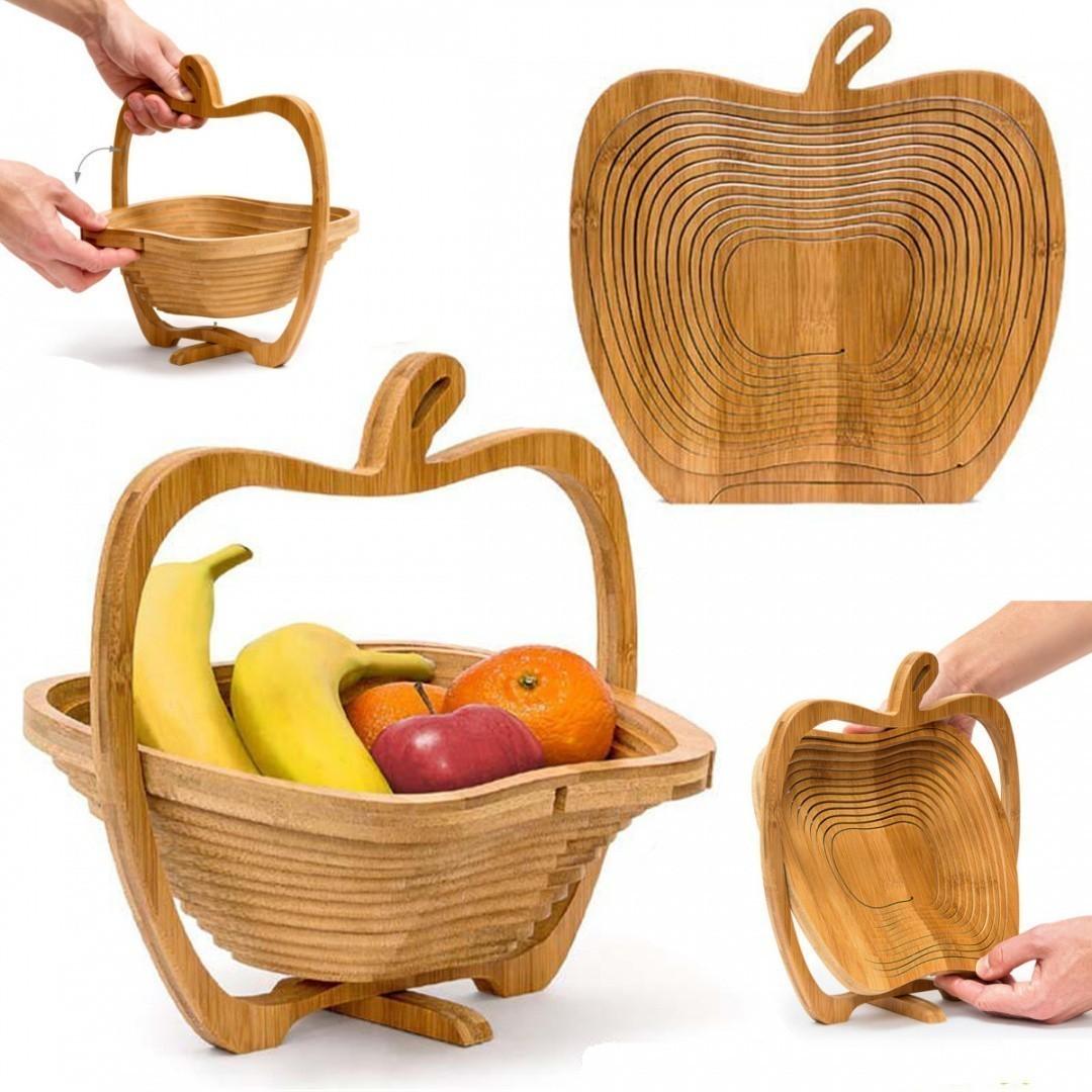 Складная бамбуковая корзина в форме яблока