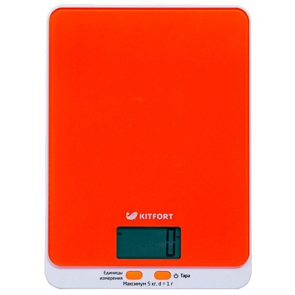 Кухонные весы Kitfort 803-КТ , оранжевыеКухонные весы<br>Электронные кухонные весы КТ-803 позволяют определять вес до 5 кг с точностью до 1 грамма.<br>