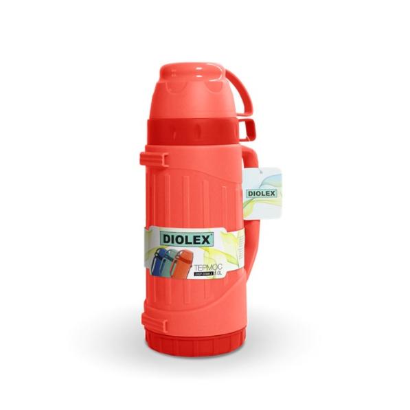 Термос DIOLEX пластиковый со стеклянной колбой 1000 мл.красный