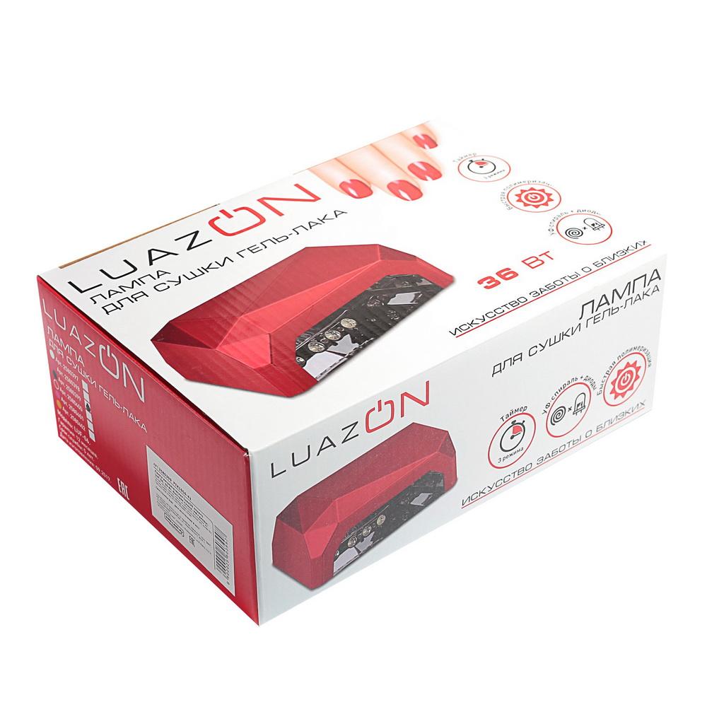 Лампа для гель-лака LuazON LUF-06, UV-LED, 36 Вт, быстрая сушка, красная