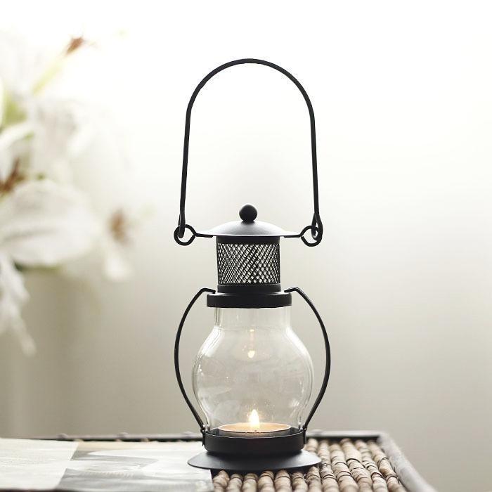 Подсвечник со сменной свечой - Керосиновая Лампа, 13 см, чёрный