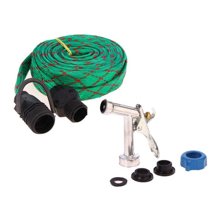 Шланг резиновый в текстильной оплетке 10 м, распылитель в подарокСадовые шланги<br>Шланг резиновый в текстильной оплетке станет настоящей находкой для людей, которые много времени работают на даче. Это оборудование позволит вам максимально быстро осуществить полив, благодаря прямому подключению к садовому водопроводу.<br>