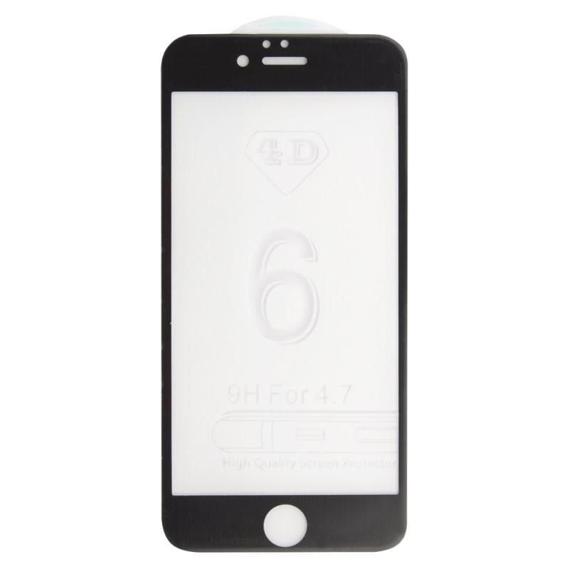 Защитное стекло «LP» для iPhone 6/6s 4D, гибридное стекло, акриловая рамка(черное)